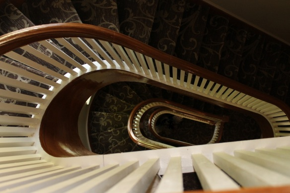 The Inn's staircase is a spiral masterpiece.  There are rooms on both the second and third floor, with the staircase winding up to the third floor through the turret.