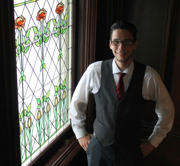 We met Justin, the front office manager, who is a wealth of information on Mackinac Island.  Those beautiful stained glass windows are original to the mansion.