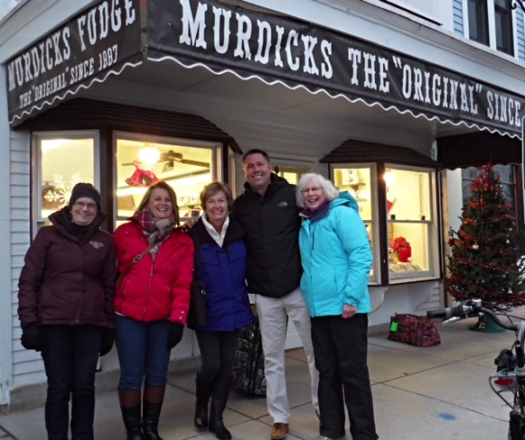 Our first stop was the Original Murdick's Fudge Shop where Murdick elves have been busy for days creating fudge and other yummy treats to send out across the nation. Jill took this photo of Leanne, Sue, me, Bobby Benser, whose family owns Original Murdick's Fudge, and Joan.