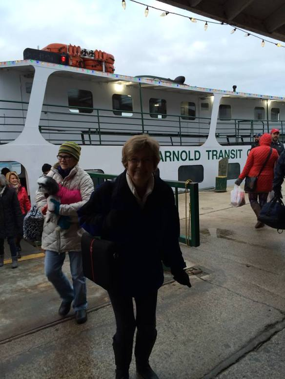 Friend Joan Barch met our boat, and she snapped this pic of me when I first realized how COLD it was - full shudder mode!