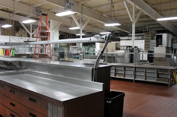 . . . and flows on and on over hundreds and hundreds of square feet. Each day the kitchen staff, which numbers close to 100, serves as many as 4,000 meals per day.