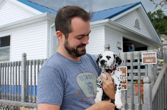 You first met Bart (a volunteer fireman on Mackinac) and his new puppy Chester in a blog post in September.