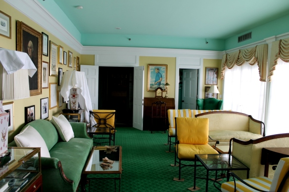 The Presidential Suite is located in the center of the hotel, with a balcony over the front porch overlooking the Straits of Mackinac.