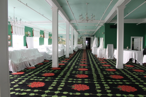 At the close of each season the Grand Hotel staff covers the majority of the furniture with crisp white sheets.