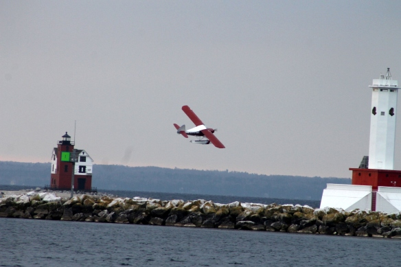 Cran took the plane up first, and I got some good shots of the plane and the lighthouses.