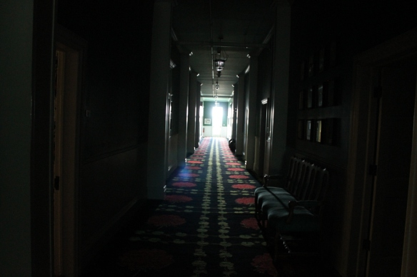 The rooms above are light because there were windows to the outside. As you can see, the hallways in the winter are another story entirely.