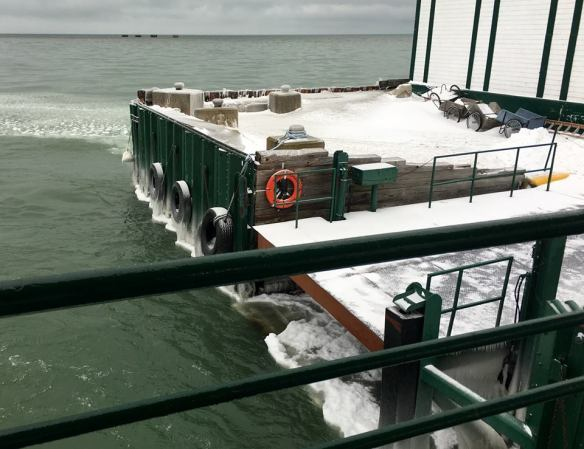 A New Year's Eve crossing on the Mighty Huron - showing just how cold it is! (Photo: Maryanka Alexander)