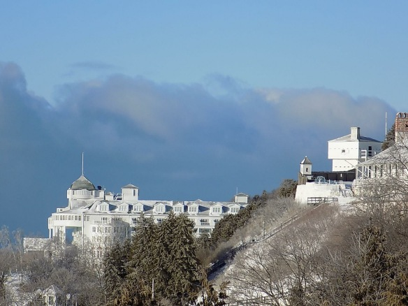 A view of Fort Mackinac and Grand Hotel.