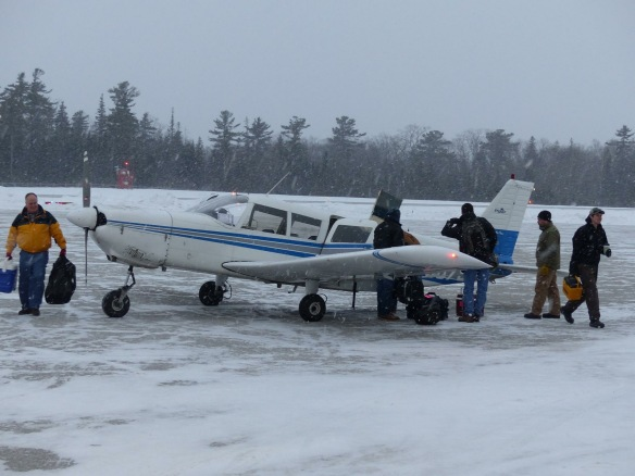Due to ice in the Straits, the Mighty Huron was unable to run over the weekend, and on Monday morning island workers arrived by air for the first time this winter.