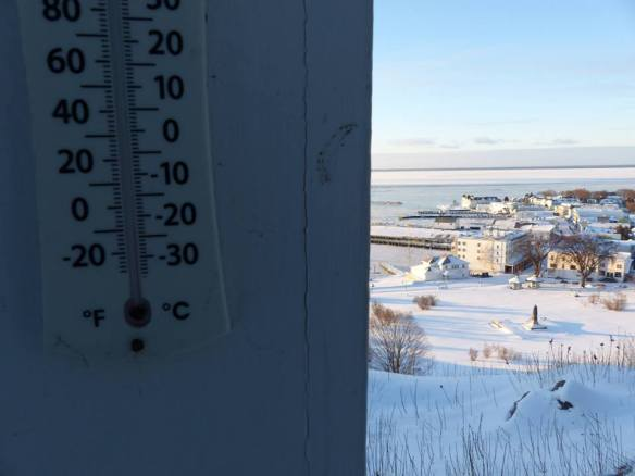 . . . it's COLD on the island. Temps with wind chill reached -30 two nights ago. (Photo: Clark Bloswick)