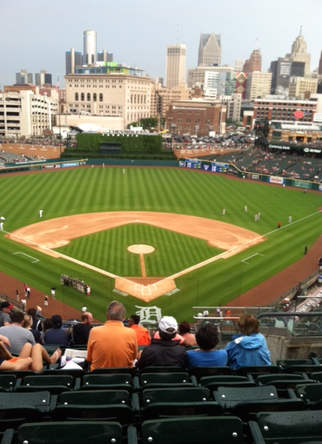 Claudia lives in Southfield MI, a suburb of Detroit. This is Comerica Park, home of the Detroit Tigers (who on this day beat the Cincinnati Reds 6-0)!