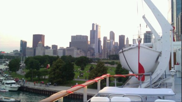 Diane lives in Chicago, and this is the southern Chicago skyline at Burnham Harbor. She took this on July 4 from the Chicago Yacht Club, where she was invited by a guest for the festivities. Diane also has a place on Mackinac Island.