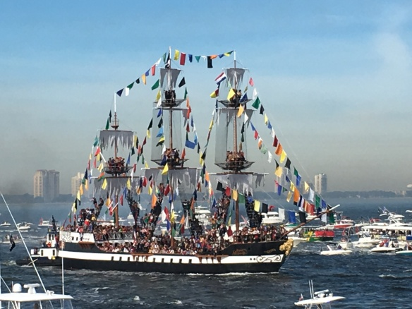 Kathy lives in Tampa FL and shared this shot of the Gasparilla Pirate Invasion in Tampa Bay in 2016.