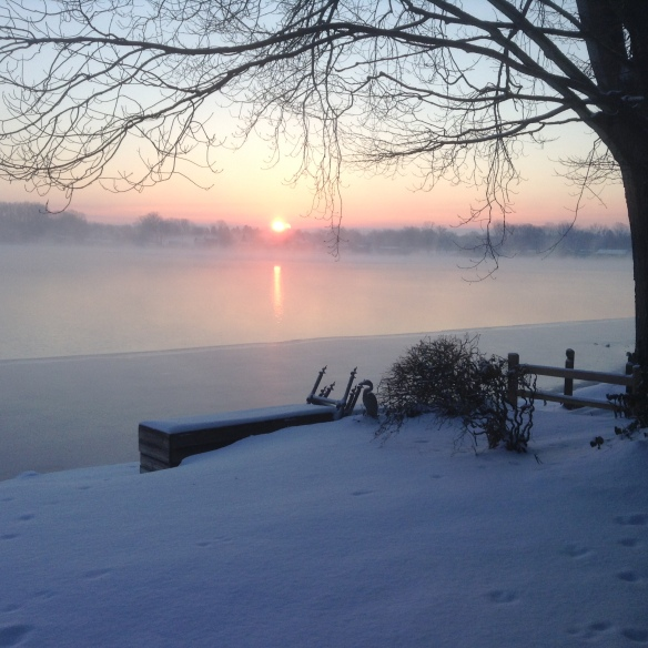 "Happy to share one last ""place where you live"" from reader Marsha. She calls Marshall MI home, and she sent this lovely shot of the sun rising over new snow on Lyon Lake. Beautiful, Marsha!"