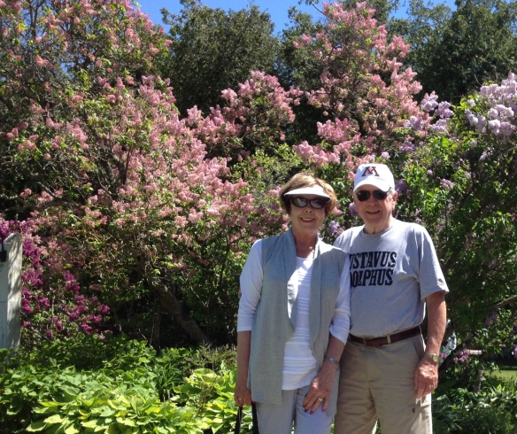 Arnie and Karen Strasz - Red Wing MN. This photo is from Mackinac where they were celebrating their 50th wedding anniversary last June (looks like during the Lilac Festival)! They found the blog after their 2015 trip. Arnie and Karen honeymooned on the island in 1965 and have been back 8 times over the last 10 years.