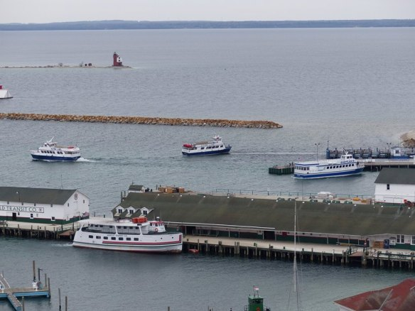 A photo from this morning by Clark Bloswick. This is the first time this spring I've seen all three ferry companies represented in the harbor - Arnold, Shepler, and Star.