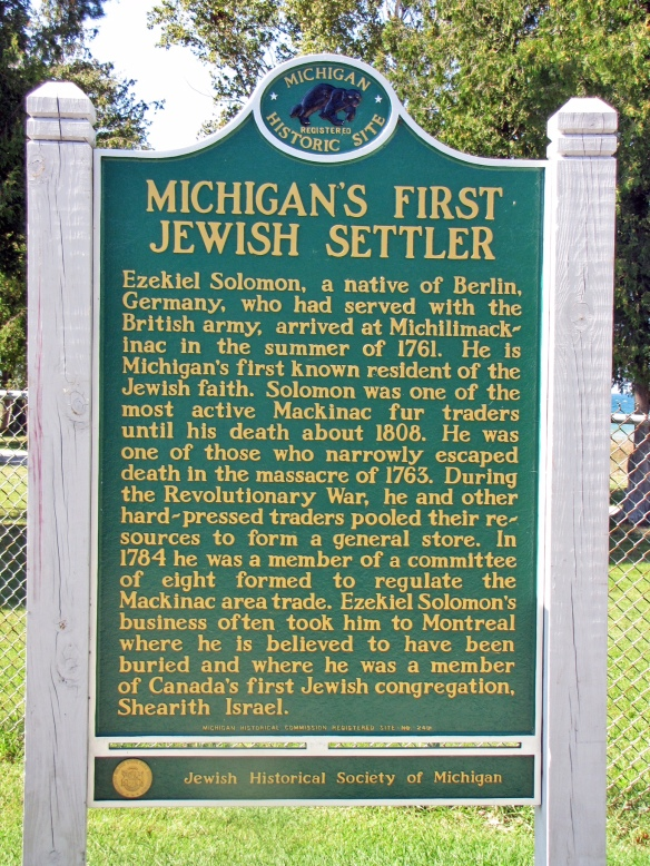 Ezekiel was also Michigan's first Jewish settler, and this marker