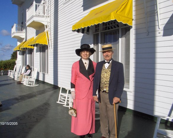 Meet Gail and Karl Richter from Wisconsin. This photo is from ten years ago when they attended a Somewhere In Time Weekend at Grand Hotel, and they come back every year for that special event. Now this is REALLY cool - Gail made her suit (she makes most of her suits and dresses for the Somewhere in Time weekends), and although she didn't make Karl's suit in this photo, she HAS made many of the suits he wears on these occasions. She occasionally has a vintage pattern to copy, but mostly just sees a photograph and designs the clothese from the photo. Now THAT is a real gift!