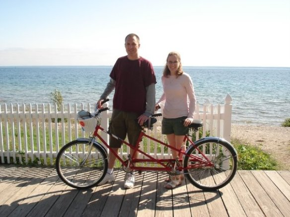 """Jason and Kimberly Bott from Saukville WI. Jason discovered the blog while researching the island before their first visit in 2009 The Botts became engaged, were married, and found out they were pregnant with their first child on Mackinac. """"The Island is a very special place for us,"""" Jason says."""