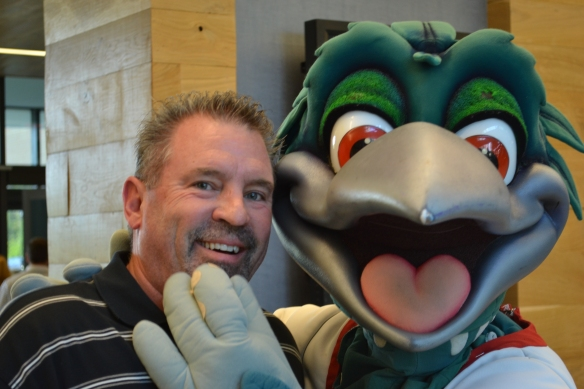 I love this pic! This is Jay Rupprecht, and that charming creature next to him is Louie the Loon, the mascot of the Class A farm team for the L.A. Dodgers who play in Midland MI.