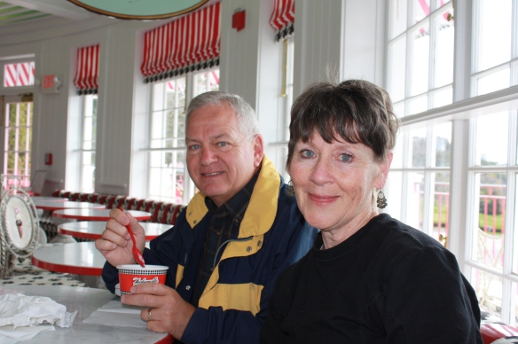 This is Kathleen and Jim Tilson, enjoying a sweet treat at Sadie's in 2014. They hail from Indianapolis IN. Jim first went to the island with his grandparents back in 1953 and has returned many times. He and Kathleen honeymooned there in 1973. Jim says, We've been there at all times of the year - including December. Each time we go we say 'it's the perfect time to visit.'""