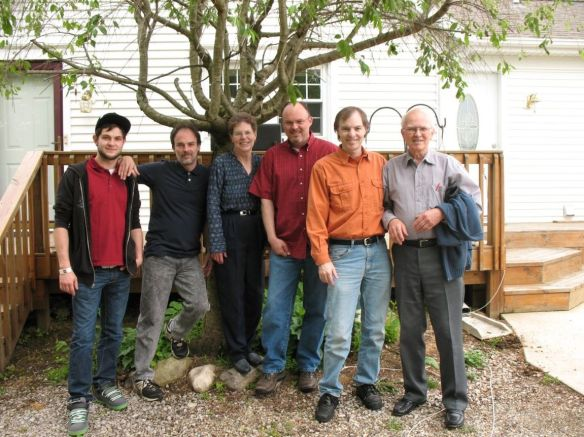 """You will probably all recognize Lowell and Faye Greene from Olivet MI. I have written about them often and just love them to pieces. In this photo they're with their grandson Mitchel and sons Timothy, Travis, and Todd. Lowell found the blog in 2012 while Googling """"Mackinac Island"""" and then went back and read every post from the beginning, and says, """"I haven't missed one since!"""""""