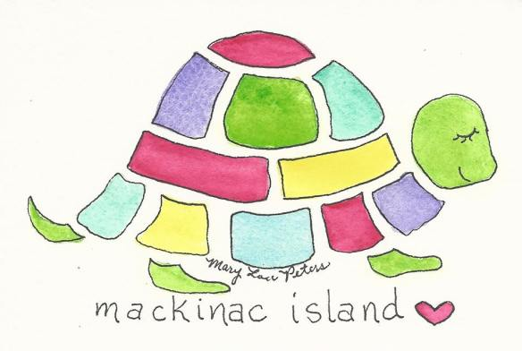 One of my favorite artists, watercolorist Mary Lou Peters, made her first visit to Mackinac this weekend to drop off a supply of her notecards to Little Luxuries of Mackinac Island and Mackinac Island Artists Market. Love this sweet and colorful turtle card!