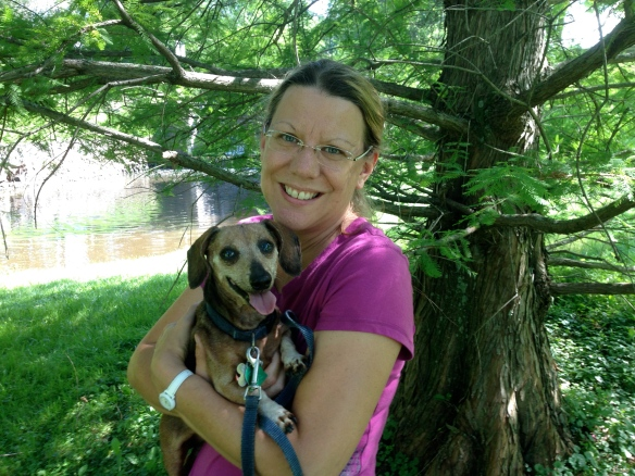 Monica Stafford (Parma MI)and her precious Ginny, a miniature dachshund. Ginny was 14 when she crossed the Rainbow Bridge in July. Monica found the blog on Google over 5 years ago. She visit the island as often as possible.