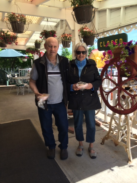 """Meet Susan and Lee Stahl from Lakeside MI. they'd been coming to Mackinac Island for 38 years as """"boating fudgies"""", anchoring their boat at the island marina each year. In 2012 their boat wasn't ready, and they decided to drive up. They spent a week at the Grand Hotel and """"we finally felt like we were locals"""", says Susan. """"I can still hear 'clop, clop, clopping outside our bedroom window. It was the best vacation ever."""" Susan found the blog that year on their way home by Googling """"why they chopped down the trees on the way to the Grand"""". Up came the blog, and she's been reading ever since. They were on the island when they were filming Somewhere in Time with their teenage daughters, who are both now in their 50's. Susan says, """"The island is always in my heart."""" Yes, Susan, I know that feeling well."""