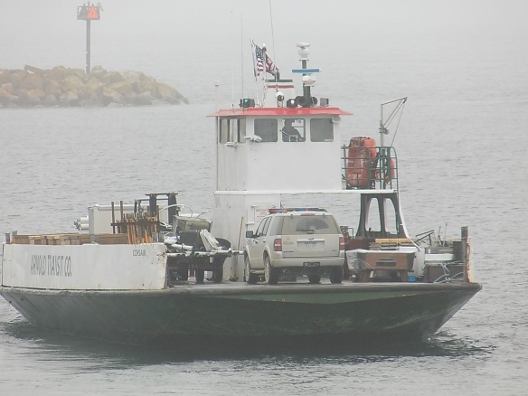 You just never know what you might find on a freight ferry - like this one carrying a police car and . . . a pool table! (Photo: Tom Chambers)