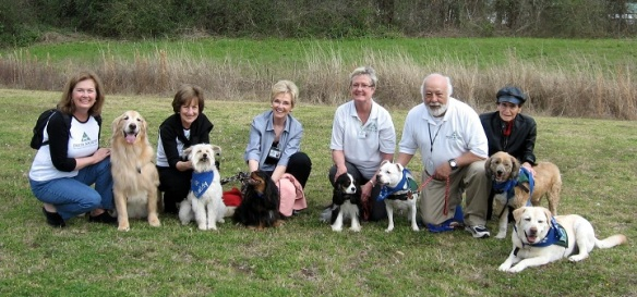 One of our pet therapy groups outside an assisted living facility.