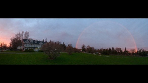 . . . and some amazing rainbows. Jaime Andress captured this one in the side yard of our former condo at Surrey Hill.