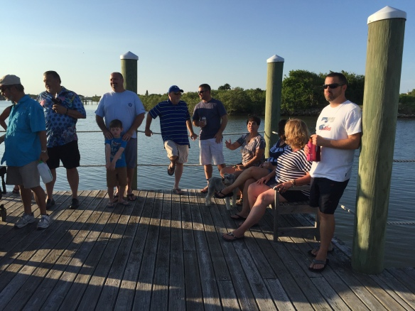 As the sun began to slip toward the horizon, we all walked down to our dock on the Intracoastal . . .