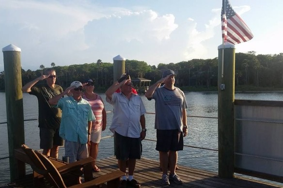 As the sun was beginning to slip toward the horizon we all walked out to the Intracoastal dock and had a brief ceremony honoring those who gave the ultimate sacrifice for our country.