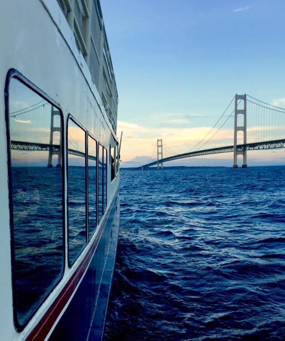 Doesn't Bobby Lee capture great angles and perspectives on his photographs? I love this double dose of the Mackinac Bridge - the real thing and its reflection in the ferry windows.