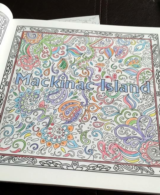 KathyJo Strukel, who won the Mackinac Island coloring book, is making good progress on the first page!