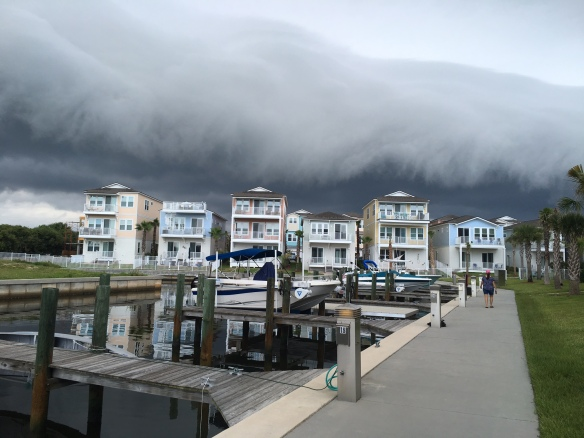 That same cloud coming from the beach over our house in Sunset Inlet. As ominous as it looks, it blew right over us, and we didn't get a drop of rain. (Photo: Neighbor Lisa Mordecai)