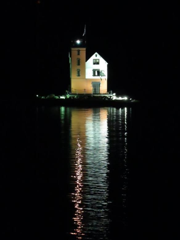 The Round Island Lighthouse is rarely illuminated. But one night recently, it was. And Clark Bloswick was around to catch the moment.