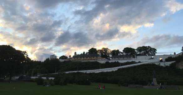 A beautiful array of clouds over Fort Mackinac as dusk settles over the island.