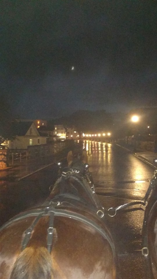 A rainy late night on Mackinac from our taxi driver friend Jim Gillespie's front seat.