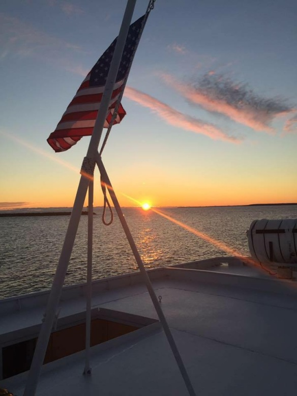 A gorgeous sunset from Captain Pat Springate off the back of a Shepler ferry.
