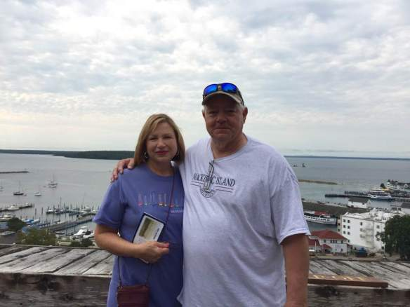 """Today Ted, Glen and I visited Fort Mackinac that overlooks beautiful Marquette Park where I let Tessa play."""