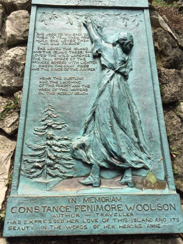 """After the fort, Ted took Glen and me for a walk on Anne's Tablet Trail (one of many trails) through a beautiful wooded area. The tablet seen on the trail honors the memory of a local author from years ago."""