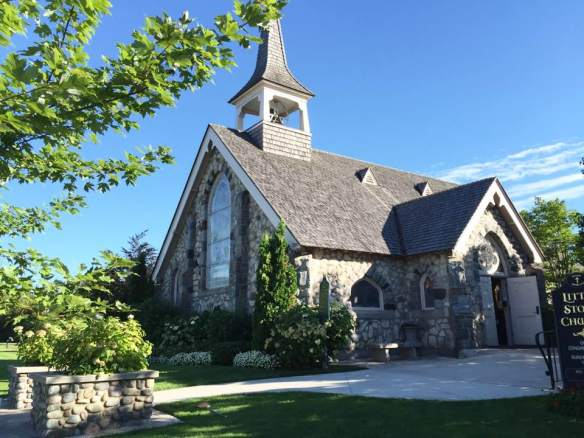 """As I was walking Tessa this evening I noticed that the city building and churches are historic in keeping with all else on Mackinac Island. This is Little Stone Church where Brenda and Ted attend."""
