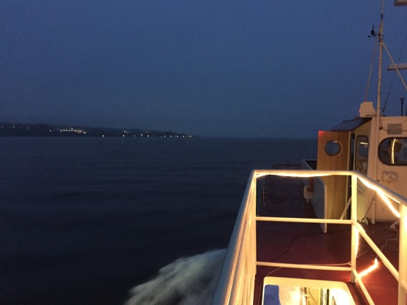 Coming back across the Straits at night is always a beautiful experience - with the island