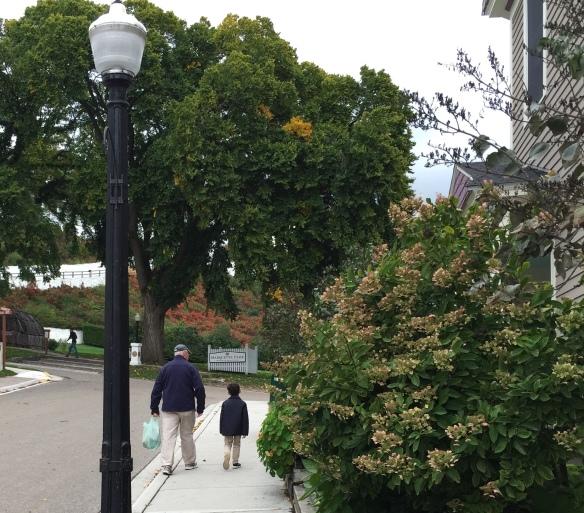 Alex and G-Daddy, enjoying a stroll downtown . . .