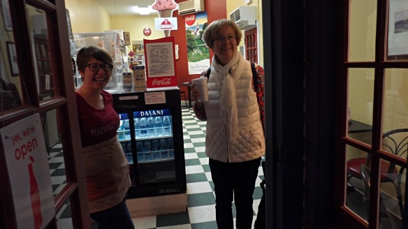 Jill found me on our last morning grabbing a cup of coffee from Miranda at Martha's Sweet Shop.