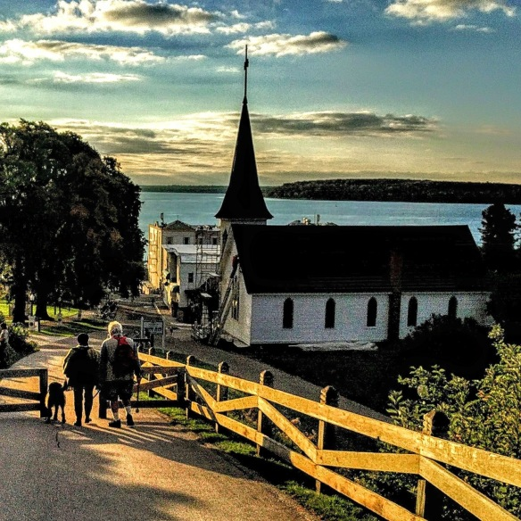 The day after we left I saw this Mackinac Revealed LLC photo on Facebook. This has always been one of my favorite vistas, and in this pic our neighbors at the Cedar Hill Condos, Meredith and Craig (and dog Mason) happened to be walking down the hill. Such a perfect photo!