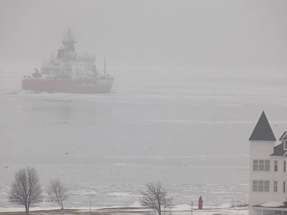 The U.S. Coastguard heavy ice breaker Mackinaw sails through the fog one morning last week. (Photo: Tom Chambers)