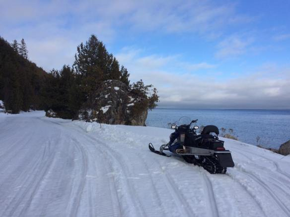 A pretty pic of Pam Day's new snowmobile parked near British Landing.